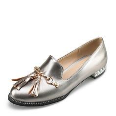 Женщины PVC Плоский каблук На плокой подошве Закрытый мыс с Цепь кисточкой обувь (086153755)