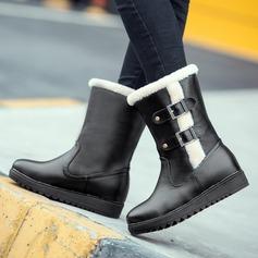 Женщины кожа Плоский каблук Ботинки Зимние сапоги с пряжка обувь (088109388)