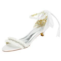 Женщины Атлас Низкий каблук (рюмка) Сандалии с развальцовка хрусталь (047102620)