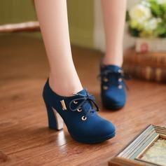 Женщины Замша Устойчивый каблук На каблуках Платформа Закрытый мыс обувь (085103242)