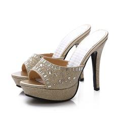 Donna Similpelle Glitter scintillanti Tacco a spillo Sandalo Stiletto con Cristallo scarpe (085107364)