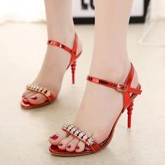Mulheres Couro Salto agulha Sandálias Beach Wedding Shoes com Fivela Strass (047125441)