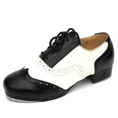 Mulheres Crianças Couro verdadeiro Saltos Sapateado com Aplicação de renda Sapatos de dança (047041949)
