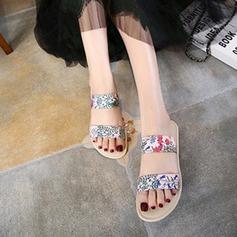 Женщины кожа Плоский каблук На плокой подошве Тапочки с Рябь обувь (087124960)