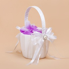 Pure Flower Basket in Satin With Ribbons (102026347)