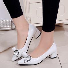 Женщины PU Низкий каблук На каблуках Закрытый мыс с бантом обувь (085137026)