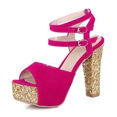 Женщины Замша Устойчивый каблук Сандалии На каблуках Платформа с пряжка обувь (087155478)