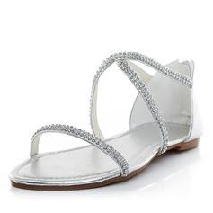 Vrouwen Kunstleer Flat Heel Flats Sandalen met Strass (047058479)
