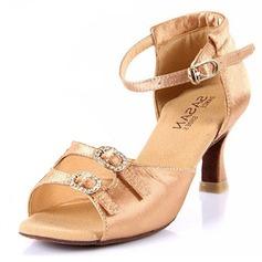 Women's Satin Heels Sandals Latin Ballroom With Rhinestone Dance Shoes (053025582)