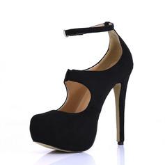Femmes Suède Talon stiletto Escarpins Plateforme Bout fermé avec Boucle chaussures (085022612)