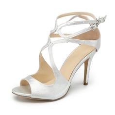 Mulheres PU Salto agulha Sandálias Bombas Peep toe com Fivela sapatos (087157086)