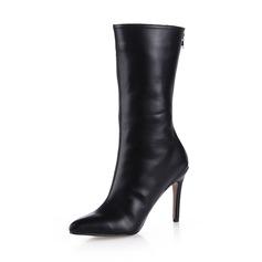 Mulheres Couro Salto agulha Botas na panturrilha sapatos (088038177)