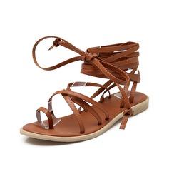 Kvinner Lær Flat Hæl Sandaler Flate sko sko (087087854)