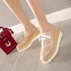 Женщины кожа Вид каблука Танкетка с Шнуровка Другие обувь (116115193)