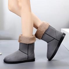 Женщины Замша Плоский каблук Ботинки Сапоги до середины голени Резиновые сапоги с Другие обувь (088138752)