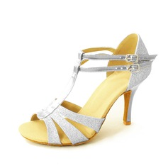 Women's Sparkling Glitter Heels Sandals Latin With T-Strap Dance Shoes (053026456)