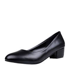 Женщины кожа Низкий каблук Закрытый мыс обувь (085150515)