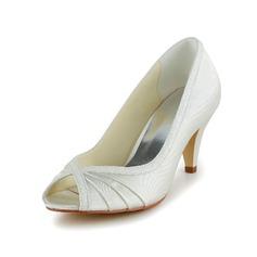 Vrouwen Satijn Cone Heel Peep Toe sandalen met Ruched (047039432)