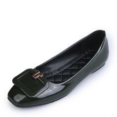 Женщины кожа Плоский каблук На плокой подошве Закрытый мыс с Баттон обувь (086164483)