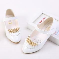 Flicka Stängt Toe konstläder platt Heel Platta Skor / Fritidsskor Flower Girl Shoes med Beading Kardborre Rufsar (207150960)