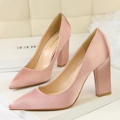 Женщины Атлас Устойчивый каблук На каблуках Закрытый мыс обувь (085114800)