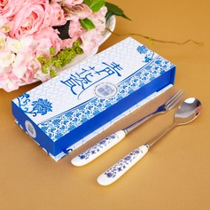 Blue-and-white Ceramics Design Stainless Steel Spoon And Fork Set (051026882)