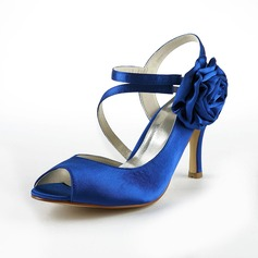 Mulher Cetim Salto agulha Peep toe Sandálias Sapatos abertos com Flor de Cetim (047024525)