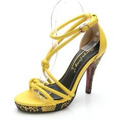 кожа Устойчивый каблук Сандалии На каблуках Платформа Открытый мыс с пряжка Животных печати обувь (087059850)