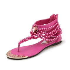 кожа Плоский каблук Сандалии с Бисер обувь (087063155)