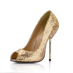 Kvinnor Glittrande Glitter Stilettklack Peep Toe Sandaler med Paljetter (047022632)