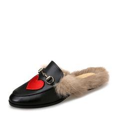 Женщины кожа Плоский каблук На плокой подошве Босоножки с пряжка мех обувь (086154826)