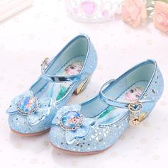 Jentas Lukket Tå Sparkling Glitter lav Heel Pumps Flower Girl Shoes med Rhinestone Glitrende Glitter Velcro (207141482)