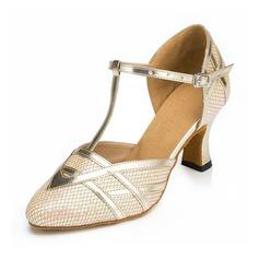 Женщины Мерцающая отделка На каблуках Сандалии Бальные танцы с Т-ремешок Обувь для танцев (053065136)
