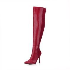 Женщины Замша кожа Высокий тонкий каблук На каблуках Закрытый мыс Ботинки Сапоги выше колен обувь (088095448)
