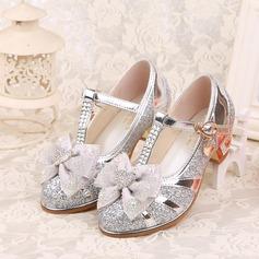 Girl's Closed Toe imitatieleer low Heel Pumps Bloemenmeisje schoenen met strik Gesp Strass Sprankelende Glitter (207150952)