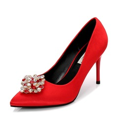 Women's Satin Stiletto Heel Pumps Closed Toe With Rhinestone shoes (085155248)