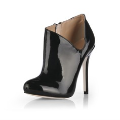 Patent Leather Stiletto Heel Pumps Closed Toe Ankle Boots shoes (088020536)