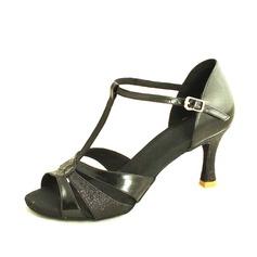 Женщины кожа Мерцающая отделка На каблуках Сандалии Латино с Т-ремешок Обувь для танцев (053013262)