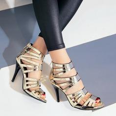 Mulheres Couro Brilhante Salto agulha Bombas Sandálias Beach Wedding Shoes com Zíper (047125428)
