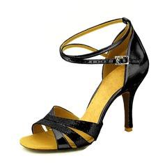 Женщины Мерцающая отделка На каблуках Сандалии На каблуках Латино Обувь для танцев (053095761)