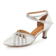Женщины Атлас Мерцающая отделка На каблуках На каблуках Бальные танцы с Ремешок на щиколотке Обувь для танцев (053021523)