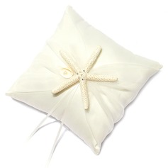 Beach Themed Ring Pillow in Satin With Starfish and Seashell (103018233)