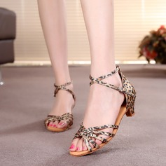 Women's Satin Heels Sandals Latin With Ankle Strap Dance Shoes (053073794)