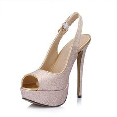 Kunstleer Sprankelende Glitter Stiletto Heel Sandalen Plateau Peep Toe Slingbacks met Gesp schoenen (085026444)