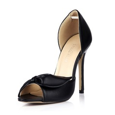 Kunstleer Stiletto Heel Sandalen Pumps Peep Toe met Strik schoenen (087042675)
