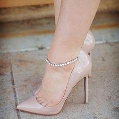 Женщины Лакированная кожа Высокий тонкий каблук Сандалии На каблуках Закрытый мыс с горный хрусталь пряжка обувь (085124942)