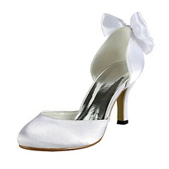 Vrouwen Satijn Stiletto Heel Closed Toe Pumps met Strik (047020219)
