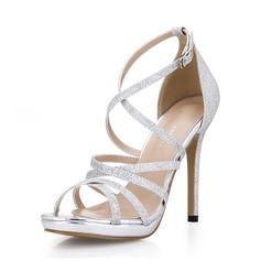 Женщины Мерцающая отделка Высокий тонкий каблук Сандалии Открытый мыс обувь (087072640)