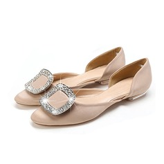Women's Satin Flat Heel Flats Closed Toe With Rhinestone shoes (086085034)