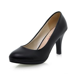 Mulheres Couro Salto carretel Bombas sapatos (085026509)